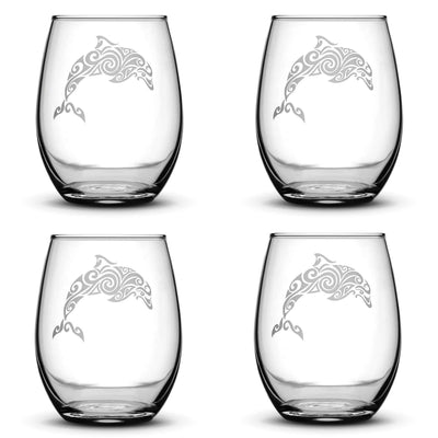 Set of 4, Dolphin Stemless Wine Glasses, Made in USA, Tribal Design, Hand Etched Integrity Bottles
