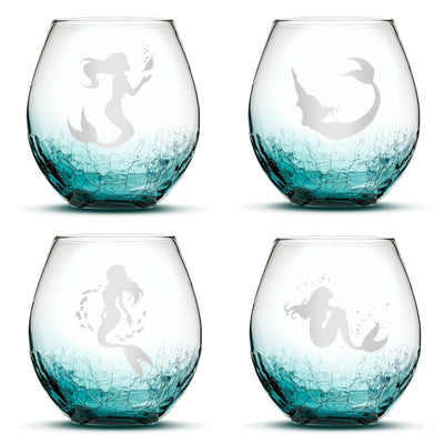 Set of 4, Mermaid Stemless Wine Glasses, Crackle Teal, Made in USA, Hand Etched Gifts, Sand Carved by Integrity Bottles by Integrity Bottles
