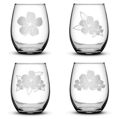 Set of 4, Plumeria Stemless Wine Glasses, Made in USA, Hand Etched Integrity Bottles
