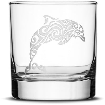 Set of 4, Whiskey Glasses with Tribal Turtle, Dolphin, Shark, and Stingray by Integrity Bottles