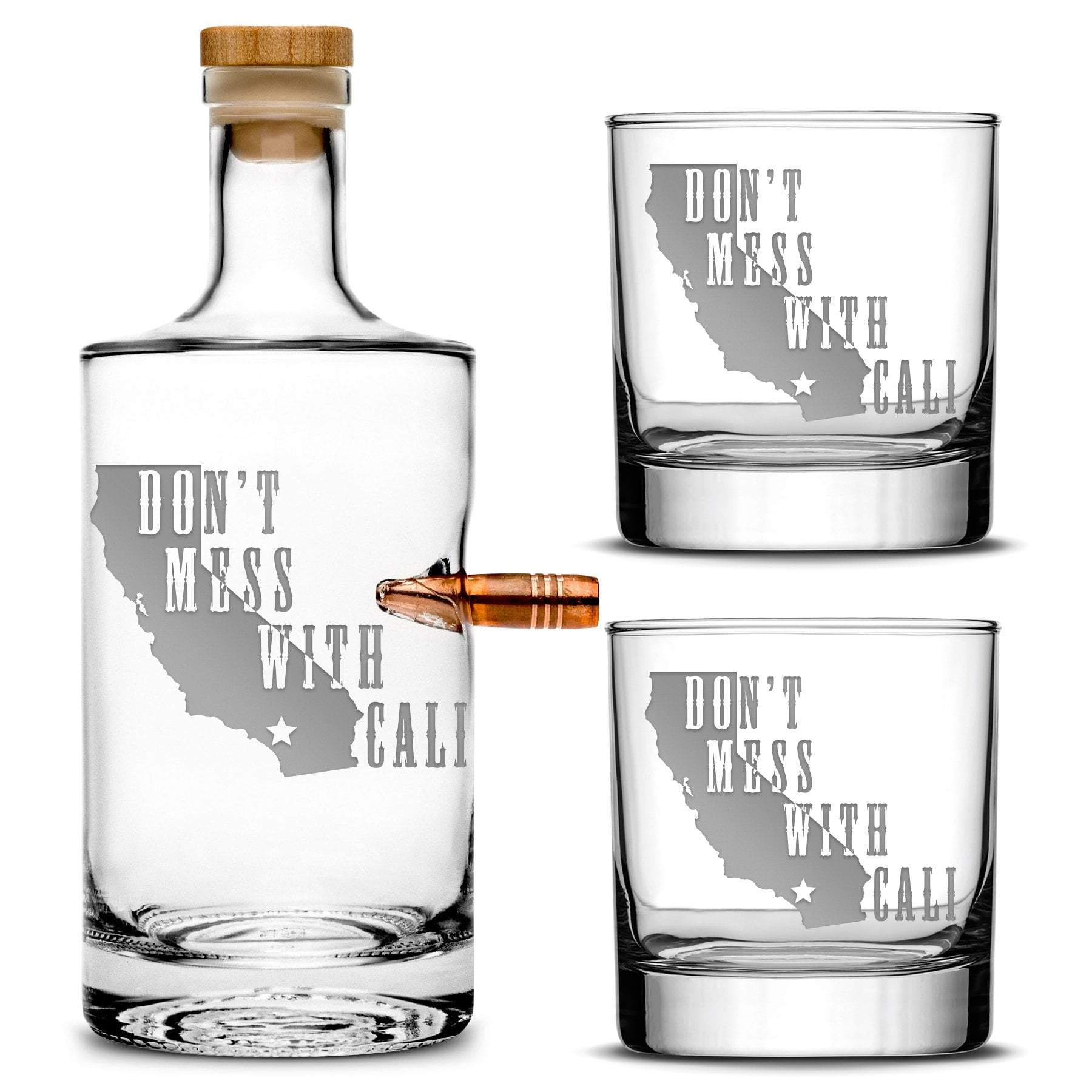 "Silver Etch Premium .50 Cal BMG Bullet Bottle Gift Set - Jersey Whiskey Decanter with Cork Stopper, ""Don't Mess With Cali"" - 750mL Integrity Bottles"