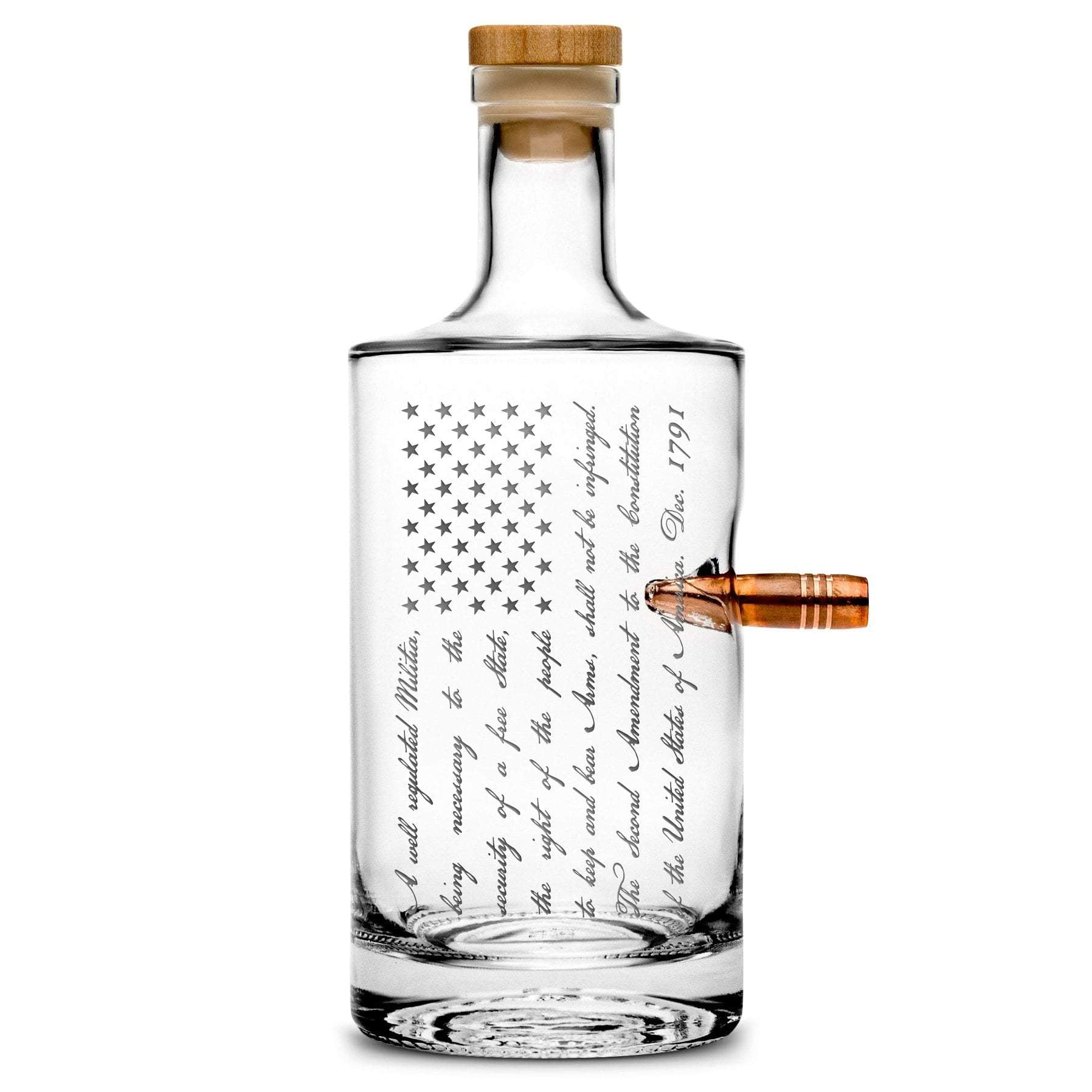 Silver Etch Premium .50 Cal BMG Bullet Bottle, Jersey Whiskey Decanter with Cork Stopper, 2nd Amendment American Flag, 750mL by Integrity Bottles