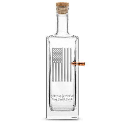 Silver Etch Premium .50 Cal BMG Bullet Bottle, Liberty Whiskey Decanter with Cork Stopper, American Flag, 750mL by Integrity Bottles