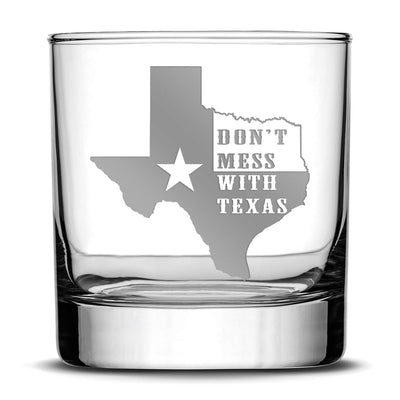 "Silver Etch Premium ""Don't Mess With Texas"" Whiskey Glass - Hand-Etched Liquor Rocks Tumbler - Old Fashioned Unique Gifts for Men, Made in USA - 11oz Integrity Bottles"