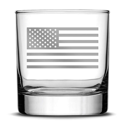 Silver Etch Premium Whiskey Glass, American Flag, 11oz Integrity Bottles