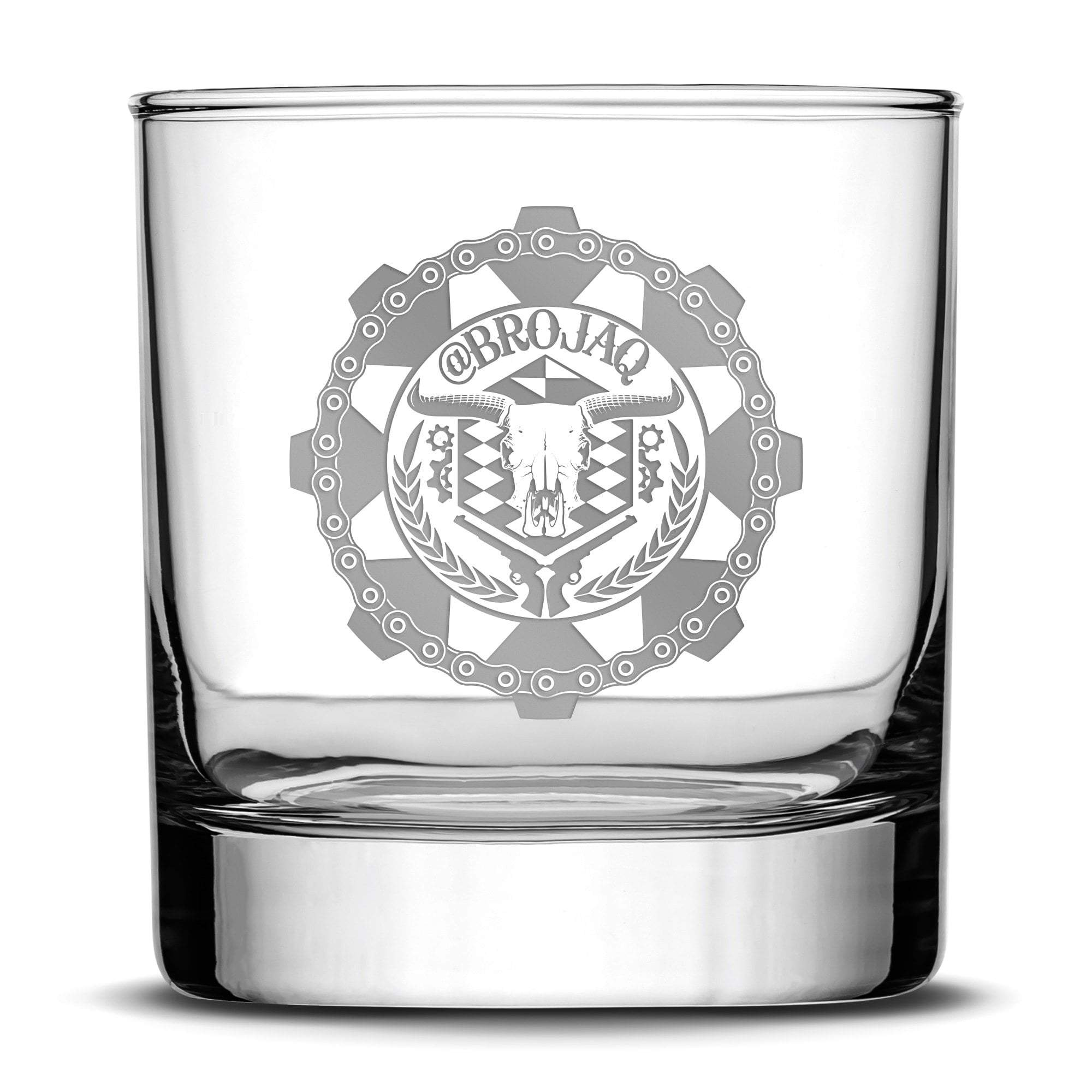 Silver Etch Premium Whiskey Glass, Hand-Etched Liquor and Rocks Tumbler, Old Fashioned Brojaq Sprocket, Made in USA, 11oz Integrity Bottles