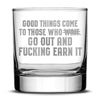 Silver Etch Premium Whiskey Glass, Hand-Etched Rocks, Good Things Come to Those Who Earn It, Made in USA, 11oz Integrity Bottles