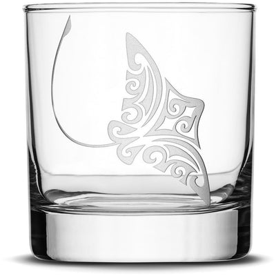Stingray Choose your Whiskey Glass with Tribal Sea Animals by Integrity Bottles