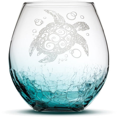 Teal / Sea Turtle Choose Your Crackle Wine Glass with Tribal Sea Animal Designs by Integrity Bottles