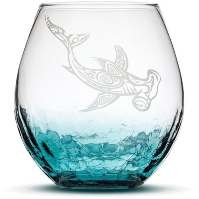 Teal / Shark Choose Your Crackle Wine Glass with Tribal Sea Animal Designs by Integrity Bottles