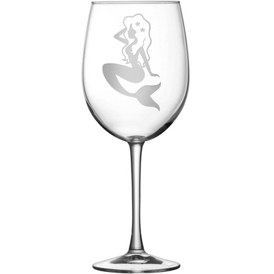 Tulip Wine Glass with Mermaid Design, Hand Etched by Integrity Bottles