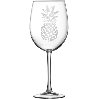 Tulip Wine Glass with Pineapple Design, Hand Etched by Integrity Bottles