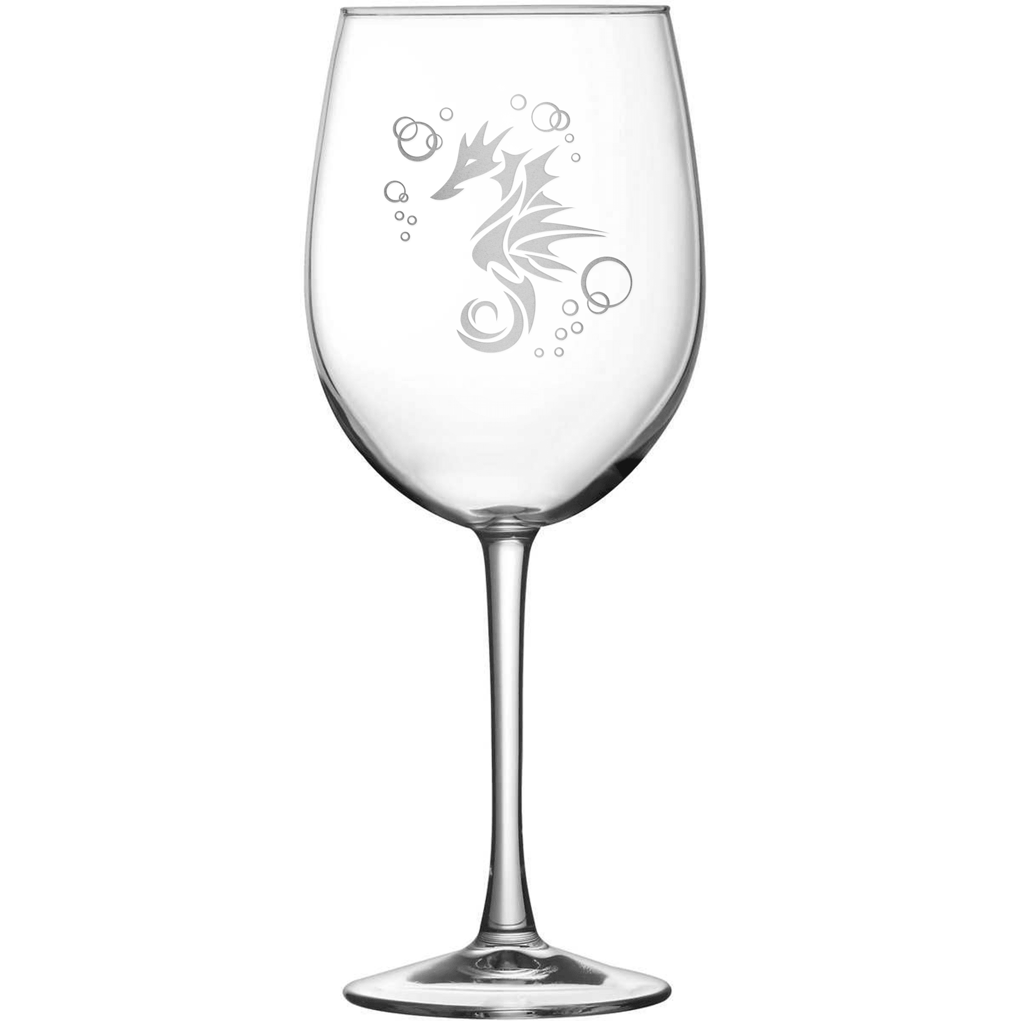 Tulip Wine Glass with Seahorse Design, Hand Etched by Integrity Bottles