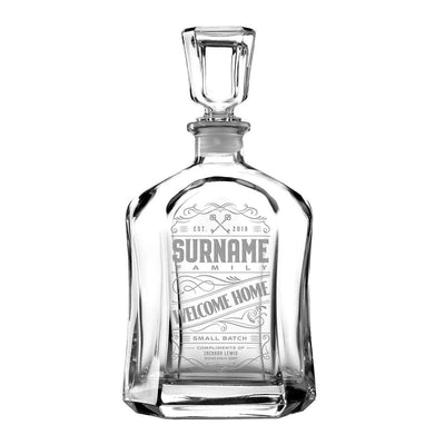 Welcome Home Custom Etched Refillable Capital Decanter, 750mL Integrity Bottles
