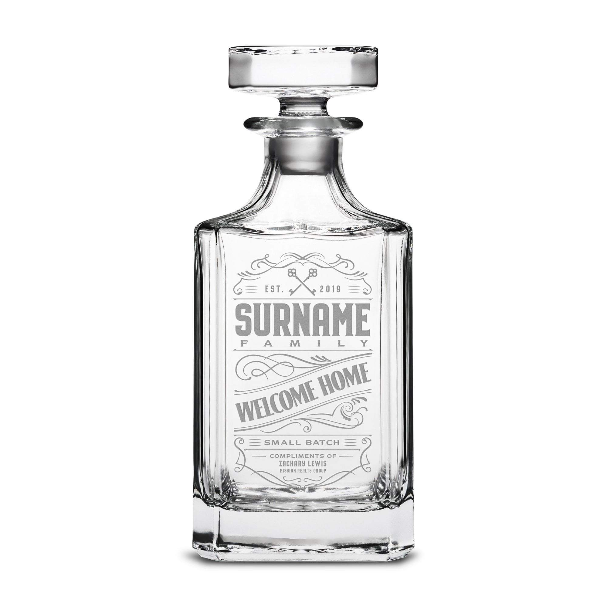 Welcome Home Custom Etched Refillable Diamond Decanter, 750mL Integrity Bottles