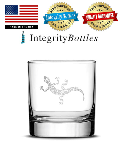 Whiskey Glass with Gecko Design, Deep Etched by Integrity Bottles