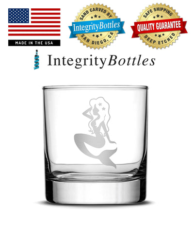Whiskey Glass with Mermaid Design, Deep Etched by Integrity Bottles