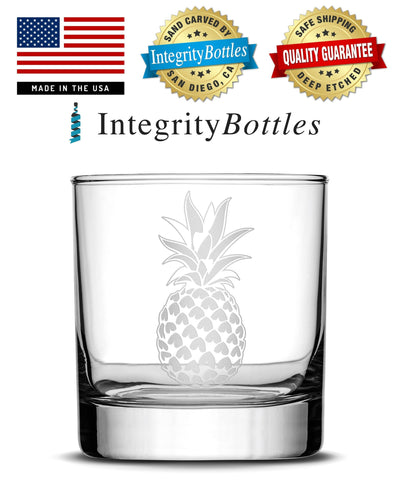 Whiskey Glass with Pineapple Design, Deep Etched by Integrity Bottles
