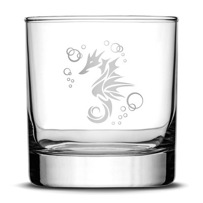 Whiskey Glass with Seahorse Design, Deep Etched by Integrity Bottles