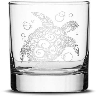 Whiskey Glass with Tribal Dolphin, Deep Etched by Integrity Bottles