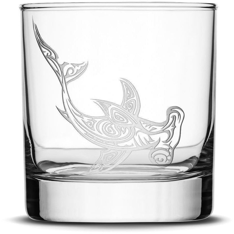 Whiskey Glass with Tribal Hammerhead Shark, Deep Etched by Integrity Bottles