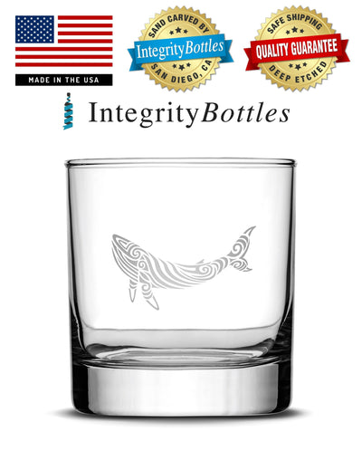 Whiskey Glass with Tribal Whale Design, Deep Etched by Integrity Bottles