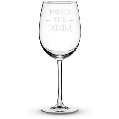 Wine Glass w/ Stem Wine Glass with Game of Thrones Quote, Hold the Door, Hand Etched by Integrity Bottles