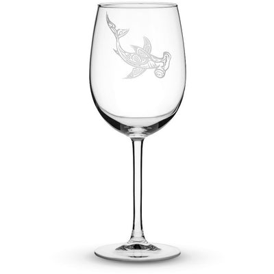 Wine Glass w/ Stem Wine Glass with Tribal Hammerhead Shark, Hand Etched by Integrity Bottles