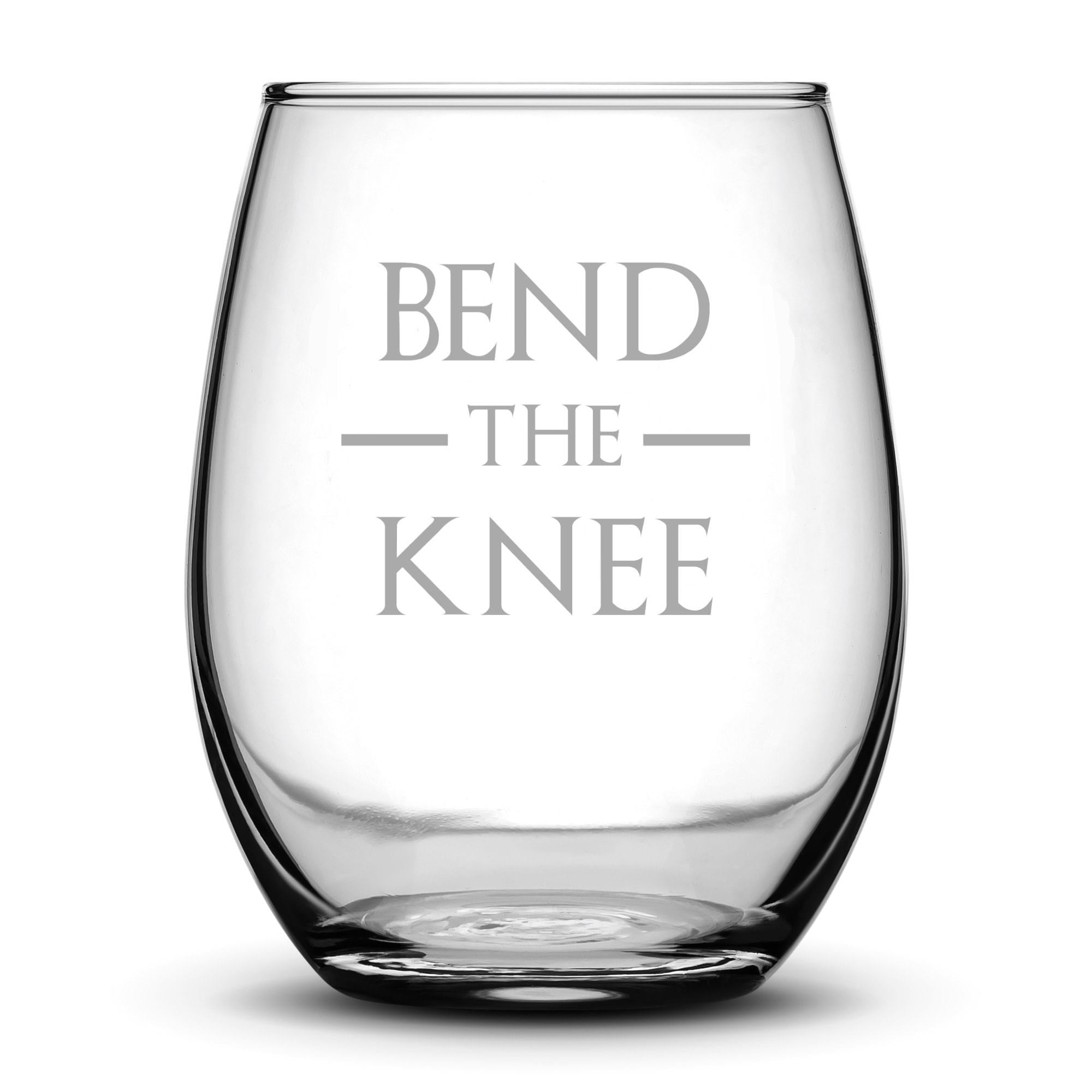 Wine Glass with Game of Thrones Quote, Bend The Knee by Integrity Bottles