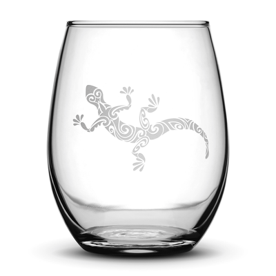 Wine Glass with Gecko Design, Hand Etched by Integrity Bottles