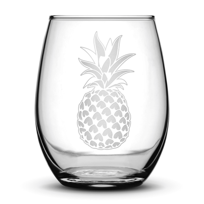 Wine Glass with Pineapple Design, Hand Etched by Integrity Bottles