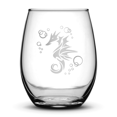 Wine Glass with Seahorse Design, Hand Etched by Integrity Bottles