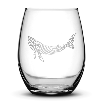 Wine Glass with Tribal Whale Design, Hand Etched by Integrity Bottles
