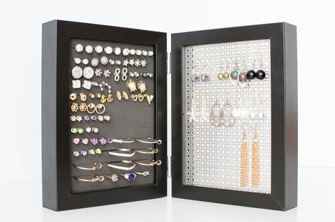 5x7 Double Framed Earring Organizer - Black