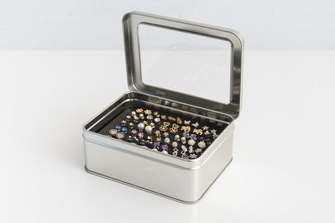 Tin Jewelry Box Earring Holder Travel Jewelry Box Never Lost