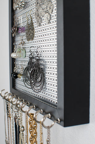 Hook Earring & Necklace Organizer - 8x10 Black Frame