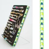 Post or Stud Earring Organizer - Pantone Green Arrows - 5x7 Acrylic Stand - Jewelry Organizer