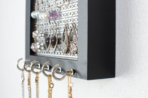 Hook Earring & Necklace Organizer - 5x7 Black Frame