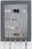 Hook Earring & Necklace Organizer - 5x7 Gray Frame