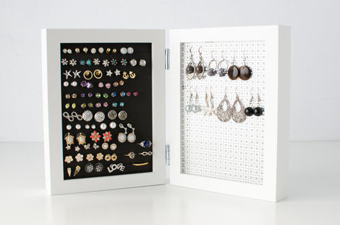5x7 Double Framed Earring Organizer - White
