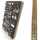 Stud & Hook Earring Organizer - 5x7 Acrylic Jewelry Stand - Black & Gold Square Ribbon