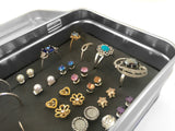 Travel Jewelry Box - Tin Earring Holder - Small 3x5 Size - Keep Earring Backs On!