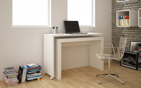 Manhattan Comfort  Calabria Swivel Nested Desk in White or Nutbrown 33AMC6