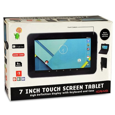 "Craig 9"" Touchscreen Tablet CMP823 Quad-Core 1.2GHz 512MB 8GB  Android 6.0 w/Cams & BT - New"