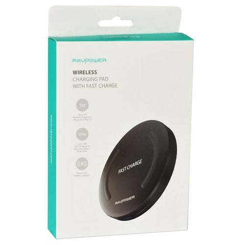 10W Qi Wireless Fast Charging Pad  RAVPOWER RP-PC014 w/Micro USB Cable (Black) New
