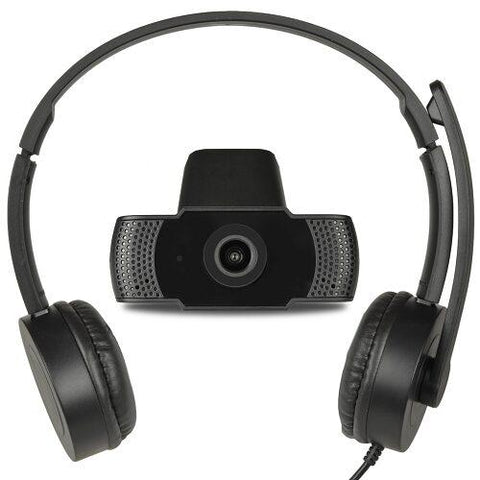 USB Online Meeting Kit - Full HD USB Webcam & Stereo Headphones w/Noise-Canceling Mic & Inline Controls- New