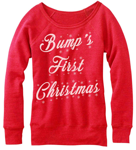 Bump's First Christmas Off The Shoulder Sweatshirt