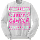 I Beat Cancer Ugly Christmas Sweater.