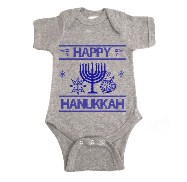 Happy Hanukkah Ugly Christmas Onesie.