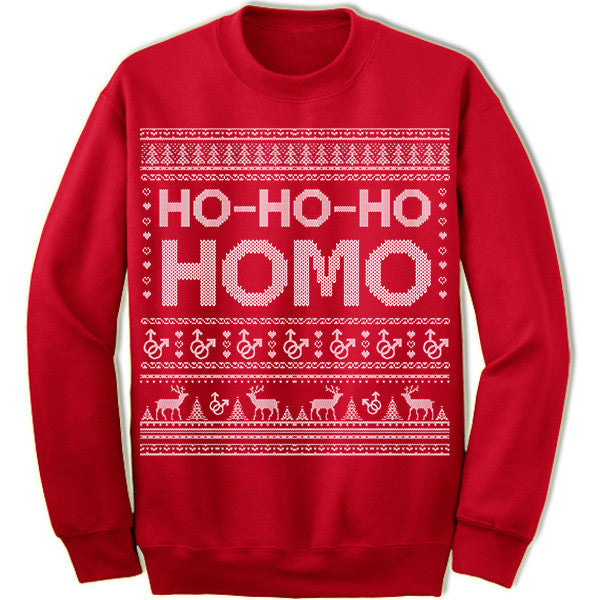 Ho-Ho-Ho Homo Ugly Christmas Sweater. LGBT